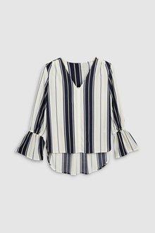 Next Navy Stripe Long Sleeve Tunic Top - 242540