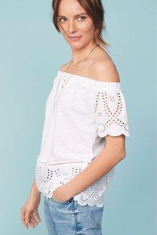 Next White Broderie Bardot Top - 242543