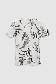 Next Ecru Tropical Print Printed Tie Wrap Top - 242551