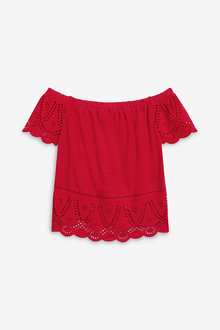 Next Red Broderie Bardot Top - 242554
