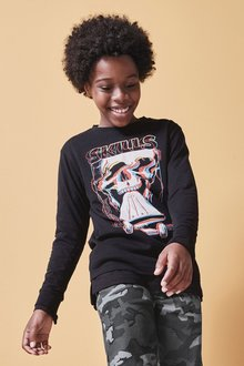 Next Long Sleeve Skull Graphic T-Shirt (3-16yrs)