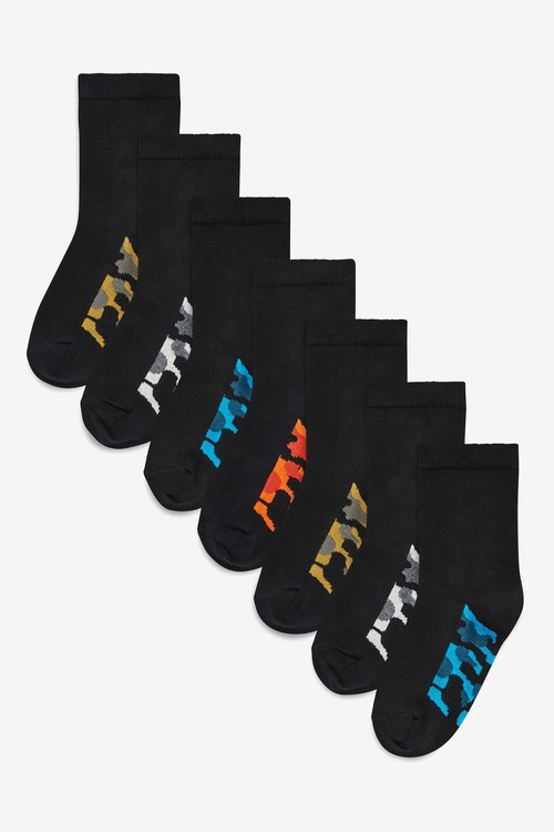 Next 7 Pack Cotton Rich Camo Footbed Socks (Older)