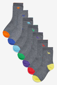 Next 7 Pack Cotton Rich Embroidered Dinosaurs Socks (Older)