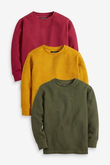 Next 3 Pack Cosy Textured Long Sleeve T-Shirts (3-16yrs)