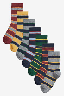 Next 7 Pack Cotton Rich Rugby Stripe Socks (Older)