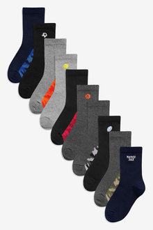 Next 10 Pack Cotton Rich Embroidered Socks (Older)