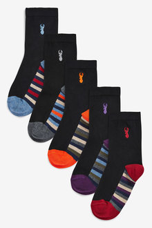 Next 5 Pack Cotton Rich Stag Embroidered Socks (Older)