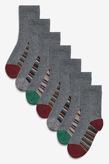 Next 7 Pack Cotton Rich Stripe Socks (Older)