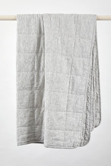 Hampton Stripe Quilted Linen Throw
