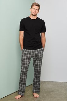 Next Check Brushed Woven Long Pyjama Set