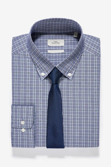 Next Check Slim Fit Single Cuff Button Down Shirt And Tie Set
