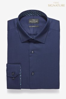 Next Signature Slim Fit Single Cuff Contrast Trim Shirt