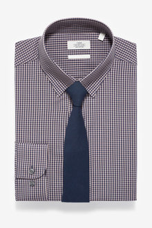 Next Slim Fit Single Cuff Gingham Shirt And Tie Set