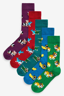 Next Dog Pattern Socks Five Pack