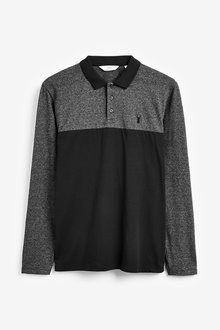 Next Long Sleeve Blocked Regular Fit Polo