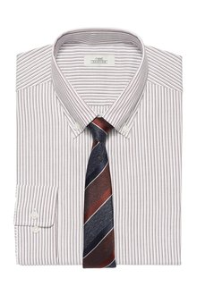Next Striped Slim Fit Single Cuff Oxford Shirt