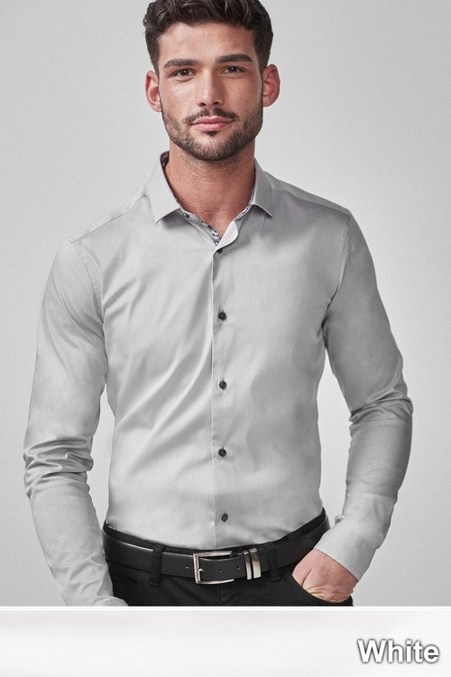 Next Stretch Poplin Shirt-Slim Fit