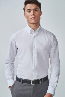 Next Slim Fit Single Cuff Shirts Three Pack