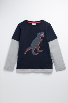 Pumpkin Patch Organic Cotton Dino Applique Tee