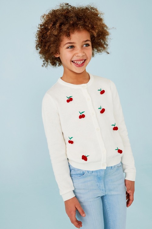 Next Embroidered Cherry Cardigan (3-16yrs)