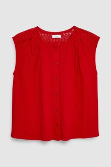 Next Red Lace Detail Blouse - 243036