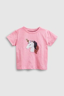 Next Bright Pink Flippy Sequin Unicorn T-Shirt - 243106