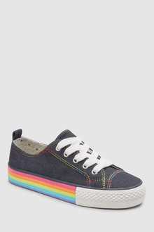 Next Denim Rainbow Lace-Up Trainers - 243165