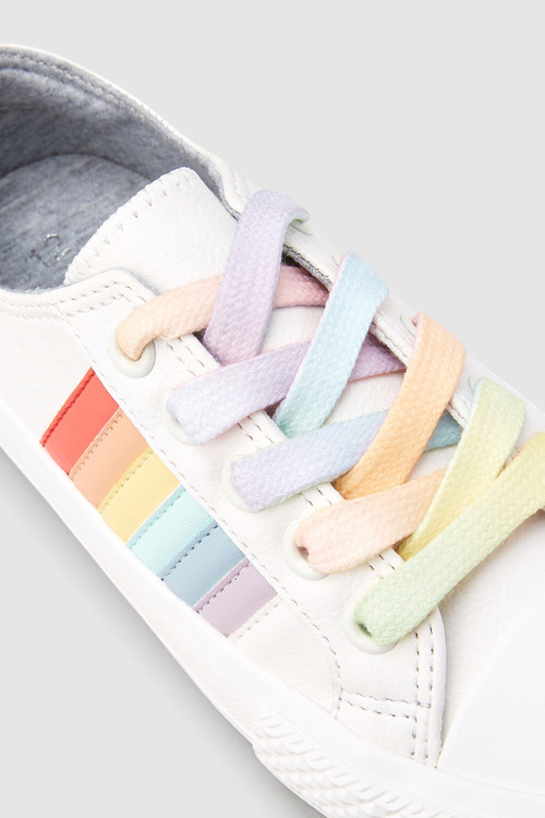 Next White Rainbow Lace-Up Trainers