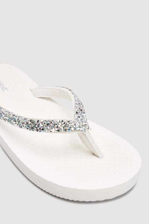 Next White Embellished Flip Flops