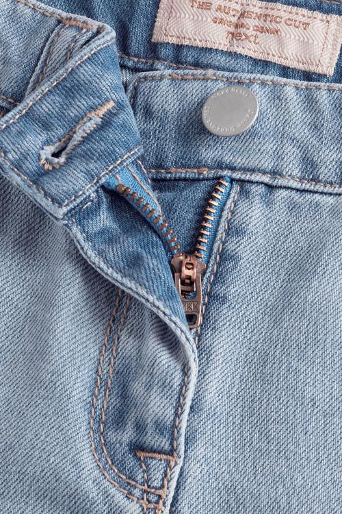 Next Mid Wash Distressed Frayed Hem Denim Shorts