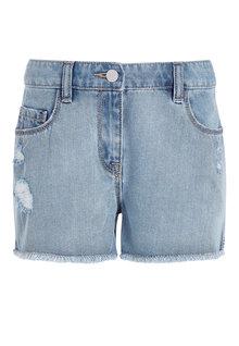 Next Mid Wash Distressed Frayed Hem Denim Shorts - 243232