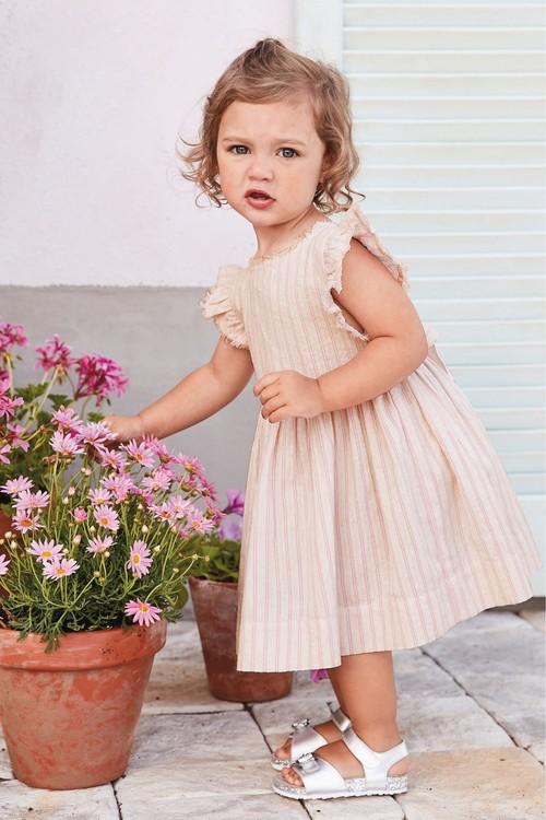 Next Pink Frill Sleeve Dress