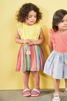 Next Yellow Carnival Stripe Two In One Dress - 243449
