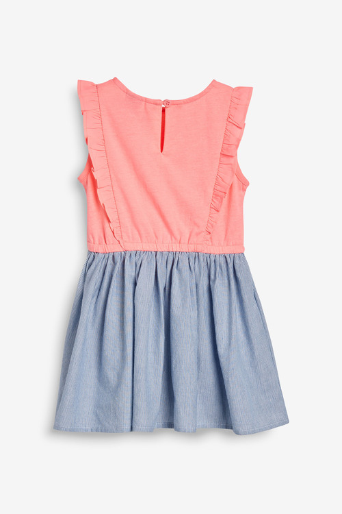 Next Coral/Blue Embellished Two In One Dress
