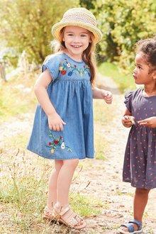 Next Denim Fruit Embroidered Dress - 243451