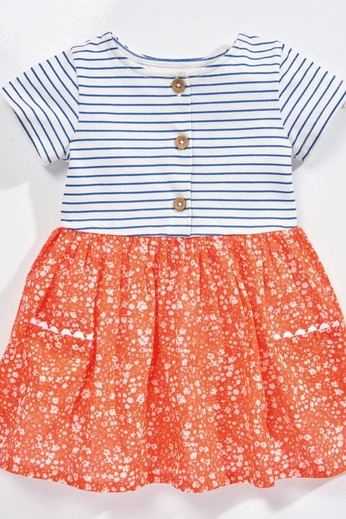 Next Red Ditsy Print Mix Fabric Dress