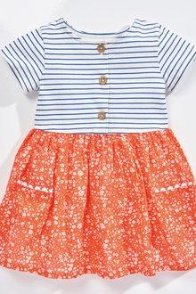 Next Red Ditsy Print Mix Fabric Dress - 243452