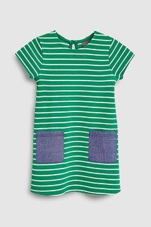 Next Green/White Stripe Dress - 243454