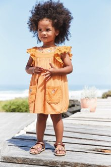Next Rust Frill Sleeve Embroidered Dress - 243455