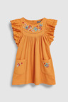 Next Rust Frill Sleeve Embroidered Dress