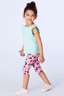 Next Bright Pink Leopard Print Cropped Leggings - 243469