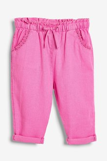 Next Pink Linen Blend Crop Pull-On Trousers - 243484