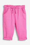 Next Pink Linen Blend Crop Pull-On Trousers