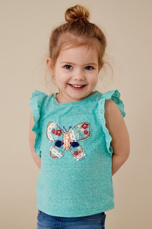 Next Turquoise Embroidered Butterfly Frill Vest