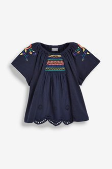 Next Navy Embroidered Blouse (3mths-7yrs) - 243518