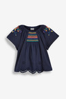 Next Navy Embroidered Blouse (3mths-7yrs)