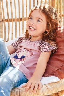 Next Pink Embroidered Butterfly Short Sleeve T-Shirt - 243519