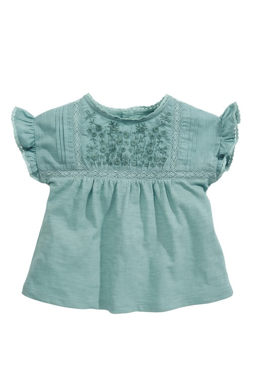 Next Teal Embroidered Short Sleeve Blouse