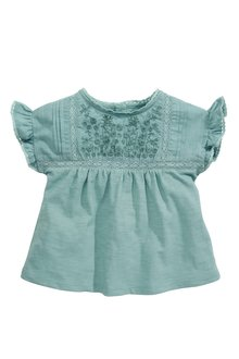 Next Teal Embroidered Short Sleeve Blouse - 243524