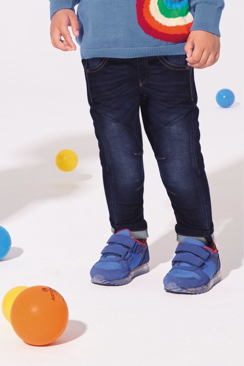 Next Dark Blue Rib Waist Jeans With Contrast Colour Turn Up